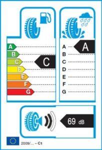 Energetický štítek vítěze testu letních pneumatik 205-55 R16 - nejlepší pneu