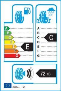 Energetický štítek vítěze testu zimních pneumatik 225-45 R18 - 2017/2018